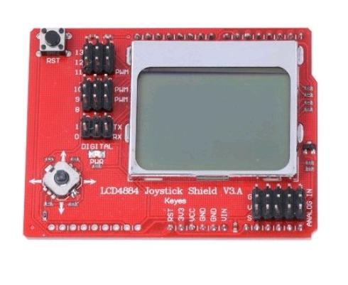 Радиоконструктор RC052. Графический дисплей LCD4884 Shield с джойстиком.