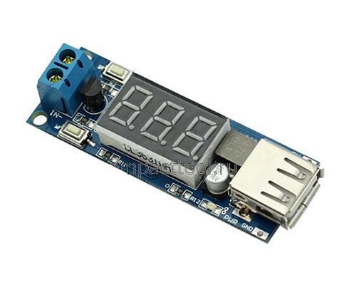 DC-DC преобразователь LM2596S понижающий с USB. Модуль RP043