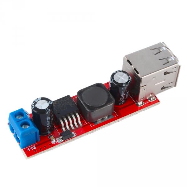 DC-DC преобразователь LM2596 понижающий с двумя разъёмами  USB. Модуль RP044