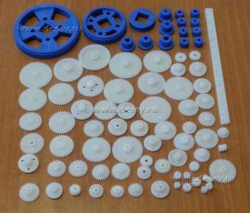 Набор механических деталей для конструирования: шестерни зубчатые и червячные, зубчатая рейка, шкивы. RM007