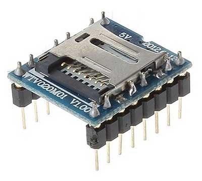 Модуль RS037. MP3 плеер c micro-SD (TF) картой (однокристальный)