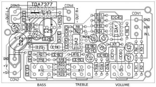 Радиоконструктор RS160M. Стереофонический УНЧ с темброблоком 2х30 Вт на микросхеме TDA7377
