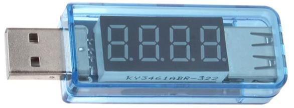Миниатюрный цифровой проточный USB Ампер-Вольтметр (DC 3...8 В ; 0...3 А ; +/-1 %) для телефонов, компьютеров и повербанков со светодиодным 8-ми сегментным 4-х разрядным индикатором. ГОЛУБОЙ