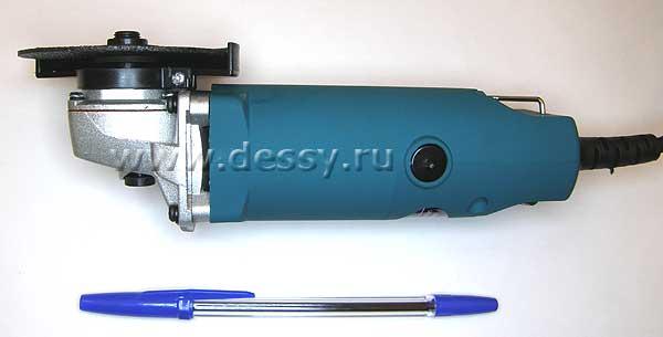 Вид угловой шлифовальной машинки (болгарки) ROYCE RDG-500S снизу в сравнении с авторучкой