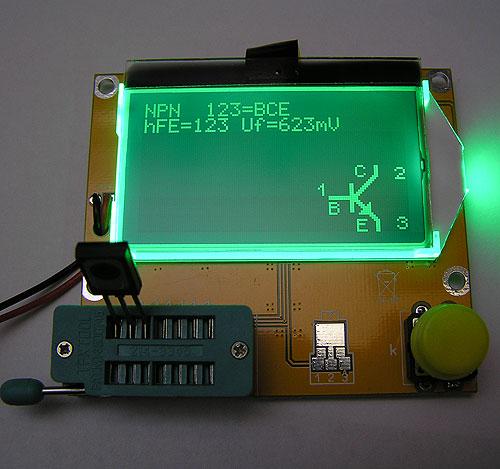 Модуль RI011. Прибор для качественной оценки радиокомпонентов Транзистор тестер - М. Ограниченная серия индикаторов, светлые надписи на тёмном фоне. Индикатор показывает инверсно.