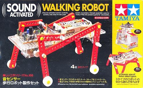 Обучающие наборы и модули Tamiya 70166 Sound Activated Walking Robot Kit - шагаюшая робот - платформа со звуковой активацией.