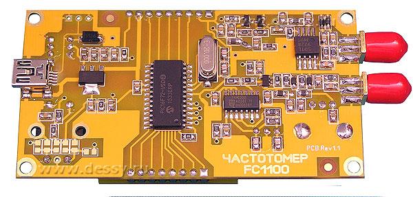 Обратная сторона частотомера FC1100 от 1 Гц до 1100 МГц с функцией проверки кварцевых резонаторов.