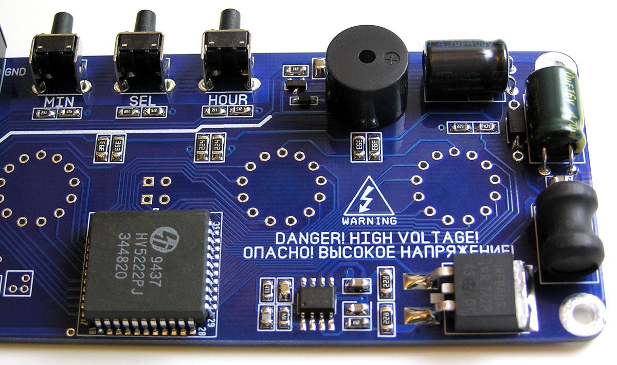 Часы NC1406 на газоразрядных лампах ИН14, с будильником и RGB подсветкой ламп