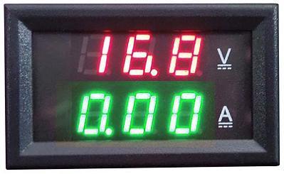 Модуль RI094. Ампервольтметр DC 0...100 В (10 А). ЗЕЛЁНО-КРАСНЫЙ