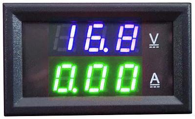 Модуль RI095. Ампервольтметр DC 0...100 В (10 А). ЗЕЛЁНО-СИНИЙ