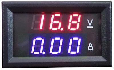 Модуль RI096. Ампервольтметр DC 0...100 В (50 А). СИНЕ-КРАСНЫЙ