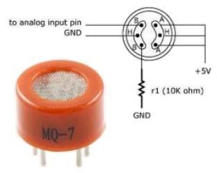 Модуль RI0136. MQ-7. Датчик угарного газа (CO)