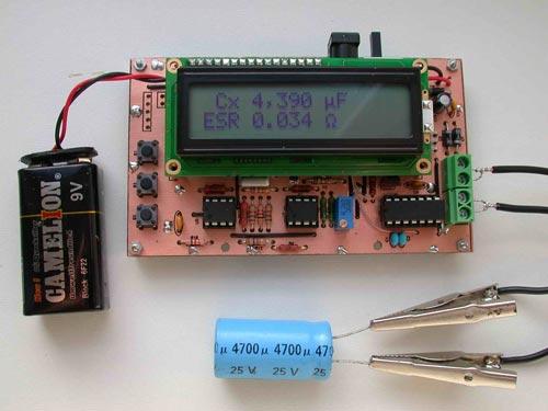 Набор Измеритель емкости и последовательного эквивалентного сопротивления электролитических конденсаторов - C/ESR-meter.
