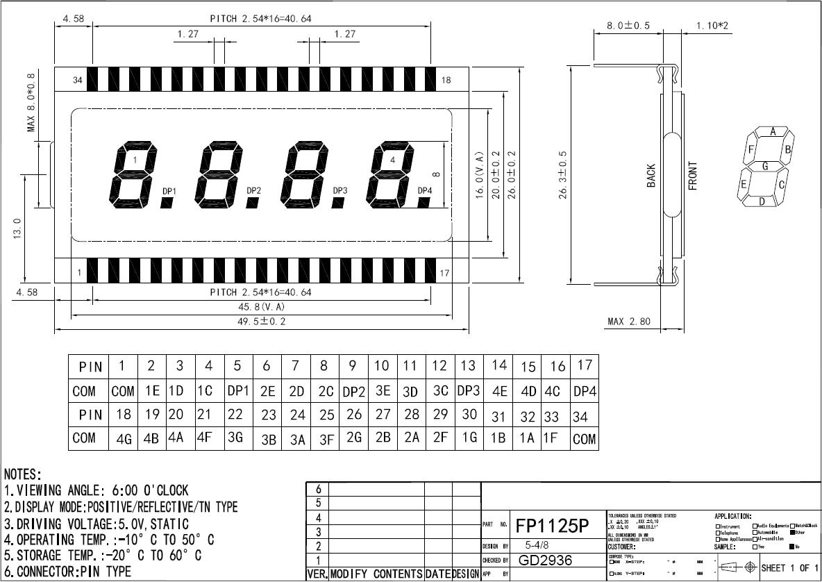 сегментный индикатор со знаком