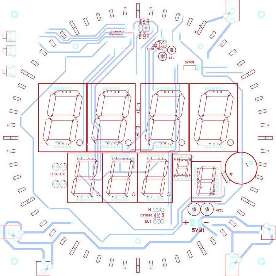 Монтажная схема часов-термометра на микроконтроллере ATmega8A с LED секундной стрелкой