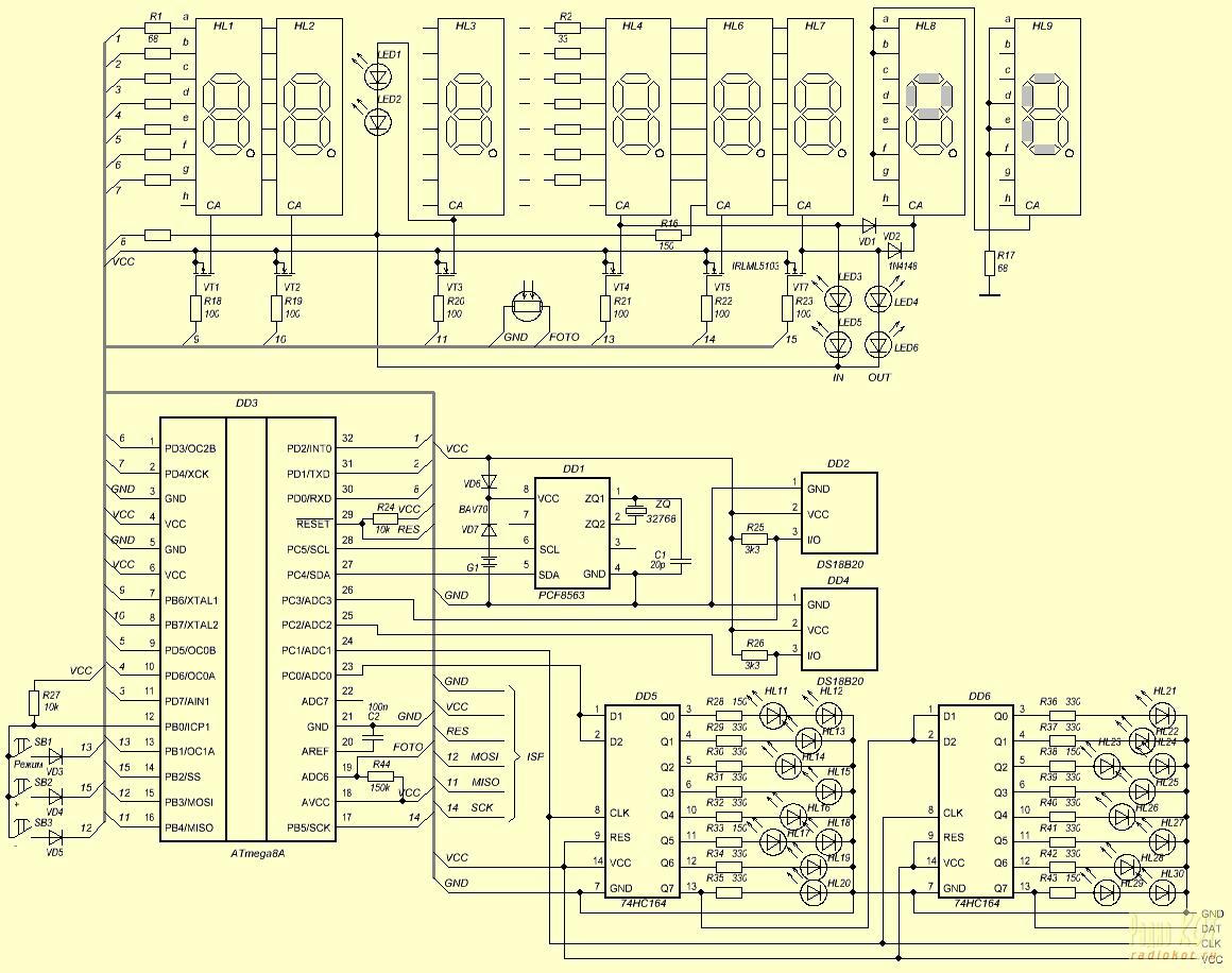 Принципиальная электрическая схема прототипа часов-термометра на микроконтроллере ATmega8A с LED секундной стрелкой